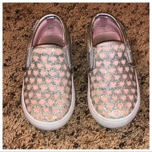Carters Silver And Pink Heart Slip Ons